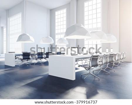 Generic open space office in loft style. 3d render - stock photo