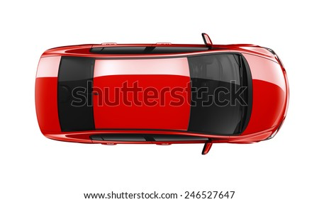 Generic red car - top view - stock photo