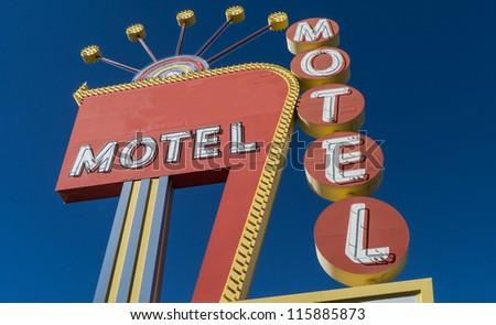 Generic 1950s Neon Motel Sign - stock photo