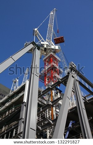 Generic skyscraper construction in London, England. Office building development. - stock photo