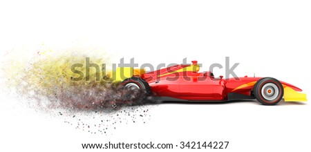 Generic  sport car with trail of dust.   - stock photo