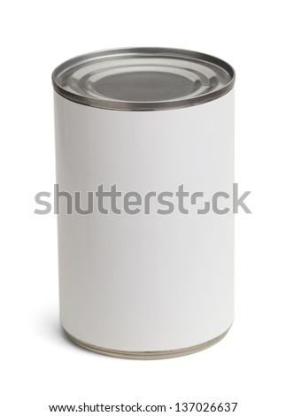 Generic Tin Can with Copy Space Isolated on a White Background. - stock photo