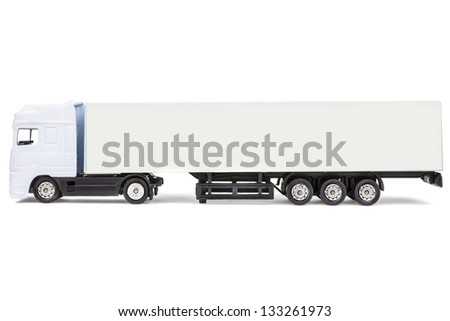 Generic white blank toy cargo truck with room for copy space isolated on a white background - stock photo