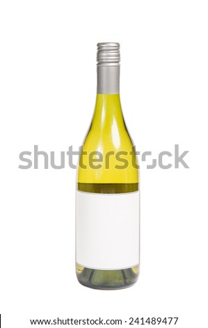 Generic white wine chardonnay bottle with blank lable - stock photo