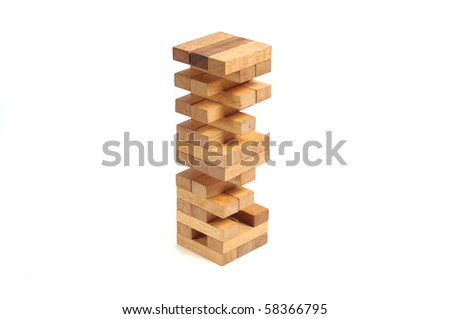 generic wooden block building, wood macro shot - stock photo