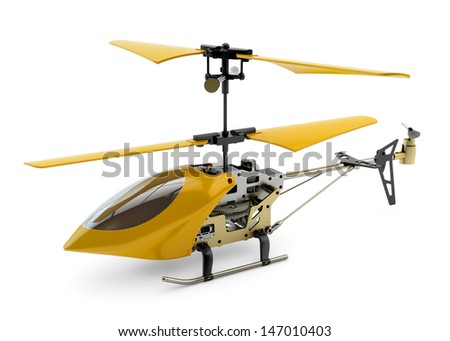 Generic yellow remote controlled helicopter isolated on white background - stock photo