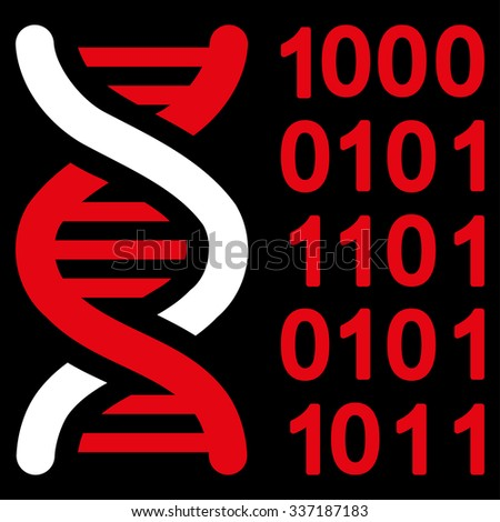 Genetic Code illustration icon. Style is bicolor flat symbol, red and white colors, rounded angles, black background. - stock photo