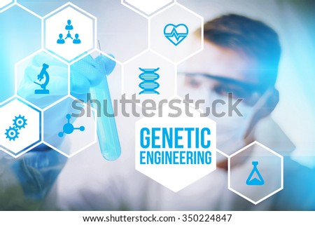 Genetic engineering research concept of human biotech modification and gene therapy. - stock photo