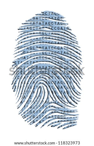 Genetic Latter Finger Print Isolated on White - stock photo