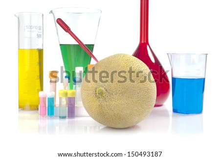 Genetically modified organism - melon and laboratory glassware on white background  - stock photo