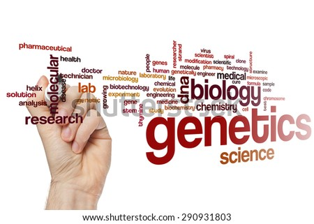Genetics word cloud concept - stock photo