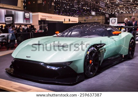 GENEVA, MAR 3: Aston Martin Vulcan, presented at the 85th International Motor Show in Geneva, Switzerland on March 3, 2015. - stock photo