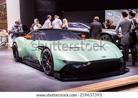 GENEVA, MAR 3: Aston Martin Vulcan, presented at the 85th International Motor Show in Geneva, Switzerland on March 3, 2015. - stock photo