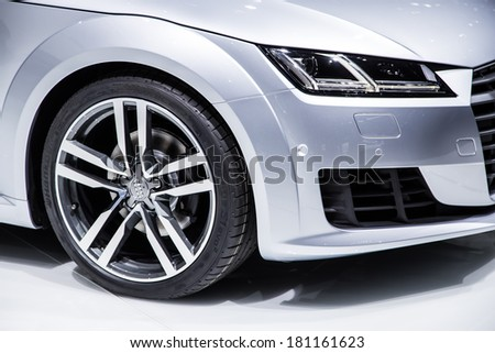 GENEVA, MAR 4: Audi TT wheel, presented at the 84th International Motor Show in Geneva, Switzerland on March 4, 2014. - stock photo