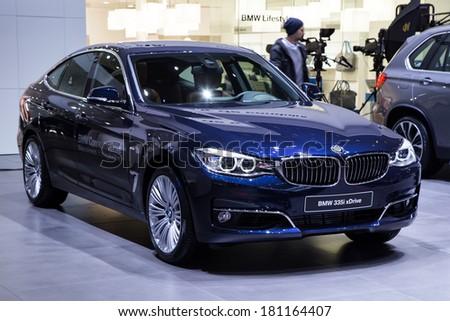 GENEVA, MAR 4: BMW 335i xDrive, presented at the 84th International Motor Show in Geneva, Switzerland on March 4, 2014. - stock photo