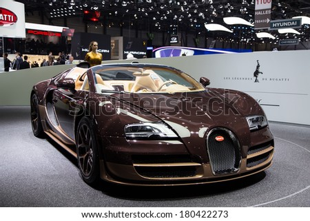 GENEVA, MAR 4: Bugatti Veyron Rembrandt, presented at the 84th International Motor Show in Geneva, Switzerland on March 4, 2014. - stock photo