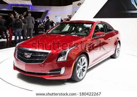 GENEVA, MAR 3: Cadillac ATS, presented at the 84th International Motor Show in Geneva, Switzerland on March 3, 2014. - stock photo