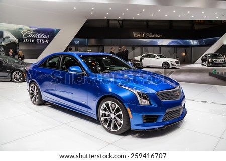 GENEVA, MAR 3: 2016 Cadillac ATS-V, presented at the 85th International Motor Show in Geneva, Switzerland on March 3, 2015. - stock photo