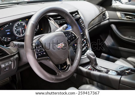 GENEVA, MAR 3: 2016 Cadillac CTS-V car interiors, presented at the 85th International Motor Show in Geneva, Switzerland on March 3, 2015. - stock photo