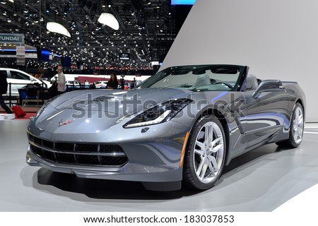 GENEVA, MAR 4: Corvette C7 displayed at the 84th International Motor Show International Motor Show in Geneva, Switzerland on March 4, 2014. - stock photo