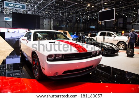 GENEVA, MAR 4: Dodge Challenger, presented at the 84th International Motor Show in Geneva, Switzerland on March 4, 2014. - stock photo