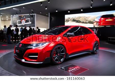 GENEVA, MAR 4: Honda Civic Type R concept, presented at the 84th International Motor Show in Geneva, Switzerland on March 4, 2014. - stock photo