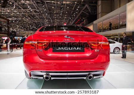 GENEVA, MAR 3: Jaguar XE, presented at the 85th International Motor Show in Geneva, Switzerland on March 3, 2015. - stock photo