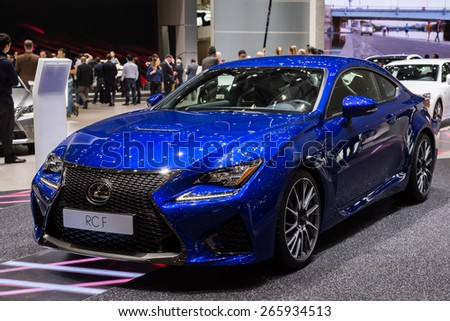 GENEVA, MAR 3: Lexus RC F car, presented at the 85th International Motor Show in Geneva, Switzerland on March 3, 2015. - stock photo