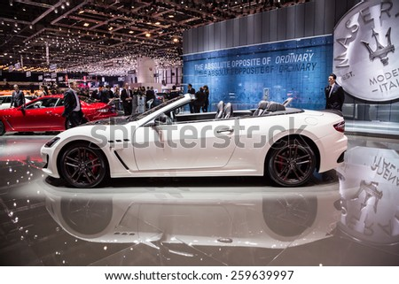GENEVA, MAR 3: Maserati Grancabrio MC, presented at the 85th International Motor Show in Geneva, Switzerland on March 3, 2015. - stock photo