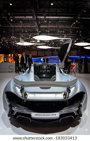 GENEVA, MAR 4: McLaren P1 displayed at the 84th International Motor Show International Motor Show in Geneva, Switzerland on March 4, 2014. - stock photo
