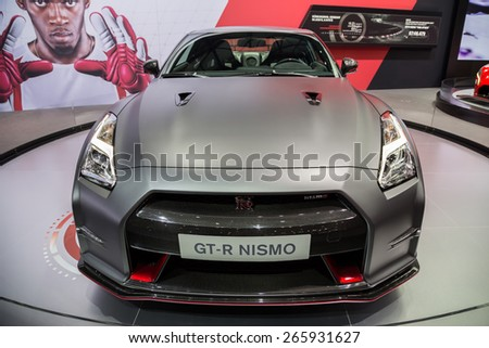 GENEVA, MAR 3: Nissan GT-R Nismo car, presented at the 85th International Motor Show in Geneva, Switzerland on March 3, 2015. - stock photo