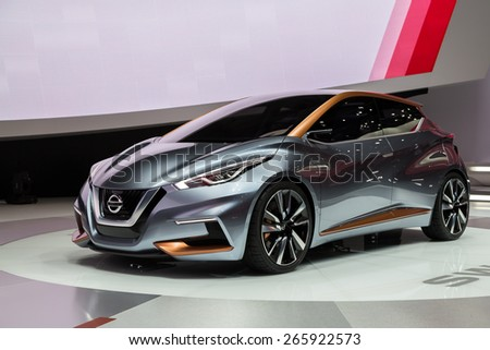 GENEVA, MAR 3: Nissan SWAY car, presented at the 85th International Motor Show in Geneva, Switzerland on March 3, 2015. - stock photo
