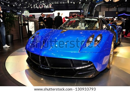 GENEVA, MAR 5: Pagani Huayra, exclusive super car, presented at the 83rd Geneva Motor Show, in Switzerland on March 5, 2013. - stock photo