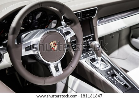GENEVA, MAR 4: Porsche 911 targa 4 interior, presented at the 84th International Motor Show in Geneva, Switzerland on March 4, 2014. - stock photo