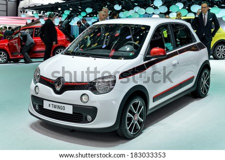 GENEVA, MAR 4: Renault Twingo, displayed at the 84th International Motor Show International Motor Show in Geneva, Switzerland on March 4, 2014. - stock photo