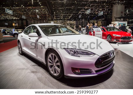 GENEVA, MAR 3: Tesla model S 85, presented at the 85th International Motor Show in Geneva, Switzerland on March 3, 2015. - stock photo
