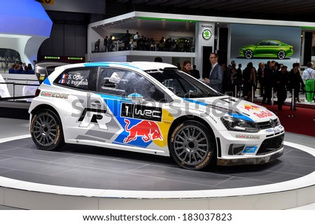 GENEVA, MAR 4: Volkswagen Polo WRC displayed at the 84th International Motor Show International Motor Show in Geneva, Switzerland on March 4, 2014. - stock photo