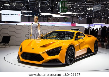GENEVA, MAR 4: Zenvo ST1, presented at the 84th International Motor Show in Geneva, Switzerland on March 4, 2014. - stock photo