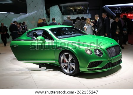 GENEVA, MARCH 3:A Bentley new gt speed car on display at 85th international Geneva motor Show at Palexpo-Geneva on March 3, 2015 at Geneva, Switzerland.  - stock photo