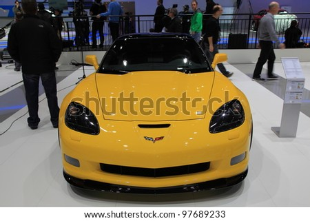 GENEVA, MARCH 8 : A Chevrolet corvette car on display at 82th International Motor Show Palexpo-Geneva on March 8, 2012 in Geneva, Switzerland. - stock photo
