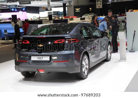 GENEVA, MARCH 8 : A Chevrolet VOLT car on display at 82th International Motor Show Palexpo-Geneva on March 8, 2012 in Geneva, Switzerland. - stock photo