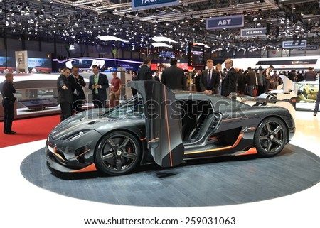 GENEVA, MARCH 3:A Koenigsegg Agera RS car on display at 85th international Geneva motor Show at Palexpo-Geneva on March 3, 2015 in Geneva, Switzerland.  - stock photo