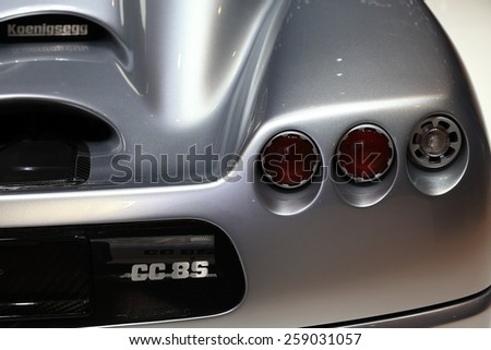 GENEVA, MARCH 3:A Koenigsegg cc 8s car on display at 85th international Geneva motor Show at Palexpo-Geneva on March 3, 2015 in Geneva, Switzerland.  - stock photo