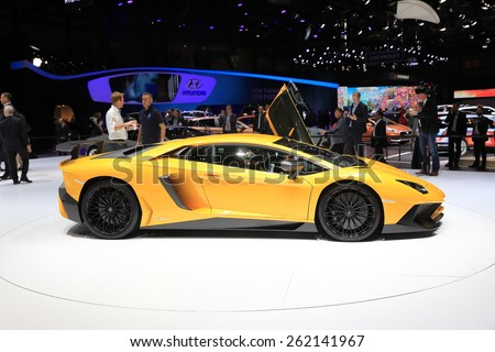 GENEVA, MARCH 3:A Lamborghini Aventador LP 750-4 SV  car on display at 85th international Geneva motor Show at Palexpo-Geneva on March 3, 2015 at Geneva, Switzerland.  - stock photo
