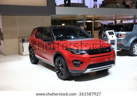 GENEVA, MARCH 3:A Land Rover Discovery car on display at 85th international Geneva motor Show at Palexpo-Geneva on March 3, 2015 at Geneva, Switzerland.  - stock photo