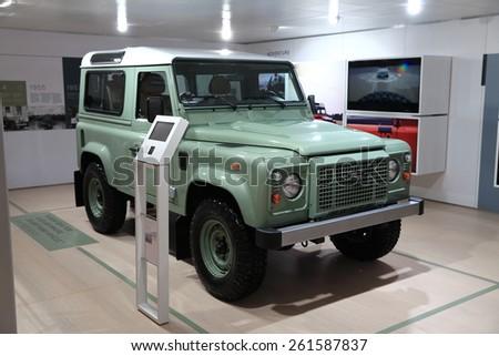 GENEVA, MARCH 3:A  Land Rover Heritage Limited edition car on display at 85th international Geneva motor Show at Palexpo-Geneva on March 3, 2015 at Geneva, Switzerland.  - stock photo