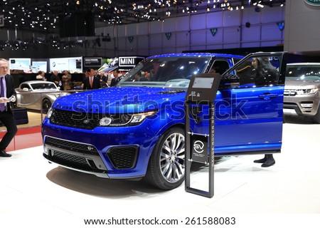GENEVA, MARCH 3:A Land Rover range rover car on display at 85th international Geneva motor Show at Palexpo-Geneva on March 3, 2015 at Geneva, Switzerland.  - stock photo
