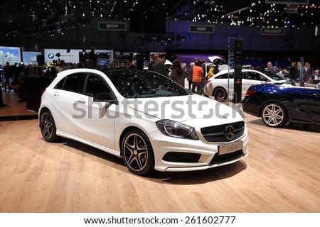 GENEVA, MARCH 3:A Mercedes Benz A200 CDI car on display at 85th international Geneva motor Show at Palexpo-Geneva on March 3, 2015 at Geneva, Switzerland.  - stock photo