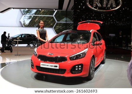 GENEVA, MARCH 3:A new Kia pro_cee'd car on display at 85th international Geneva motor Show at Palexpo-Geneva on March 3, 2015 at Geneva, Switzerland.  - stock photo