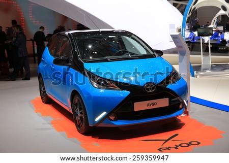 GENEVA, MARCH 3:A New Toyota AYGO  car on display at 85th international Geneva motor Show at Palexpo-Geneva on March 3, 2015 at Geneva, Switzerland.  - stock photo